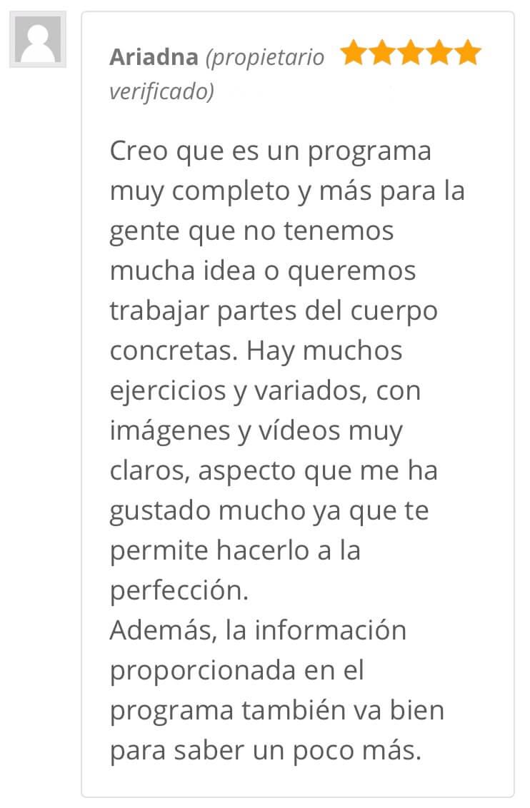 Opinión Ariadna - Programa Transforma tus glúteos